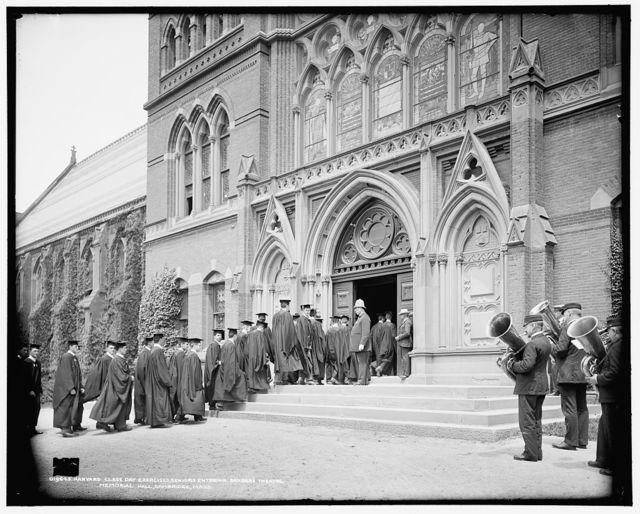 Harvard Class Day exercises, seniors entering Sander's Theatre, Memorial Hall, Cambridge, Mass.