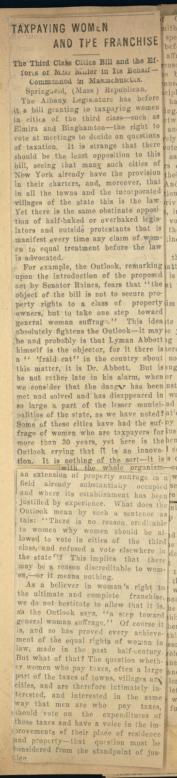 Hearings on Tax Suffrage for Women Taxpayers
