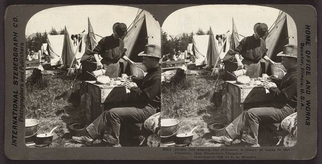 Home life among the refugees - a street of tents in the Presidio, San Francisco Disaster