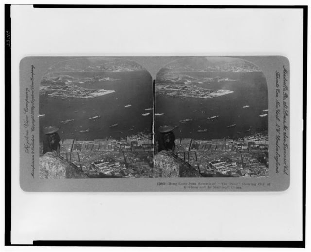 """Hong Kong from the summit of """"The Peak"""" showing city of Kowloon and the mainland, China"""