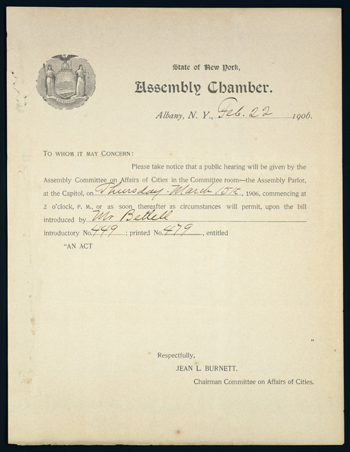 Jean L. Burnett, Chairman Committee on Affairs of Cities, State of New York Assembly Chamber, announces hearing March 15 on tax election act