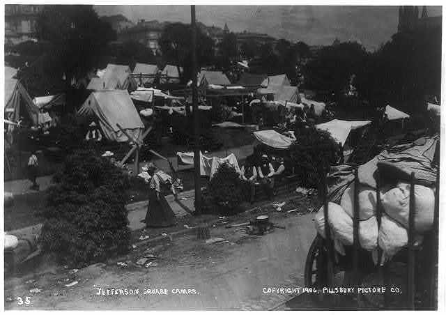 Jefferson Square camps, after the San Francisco earthquake and fire