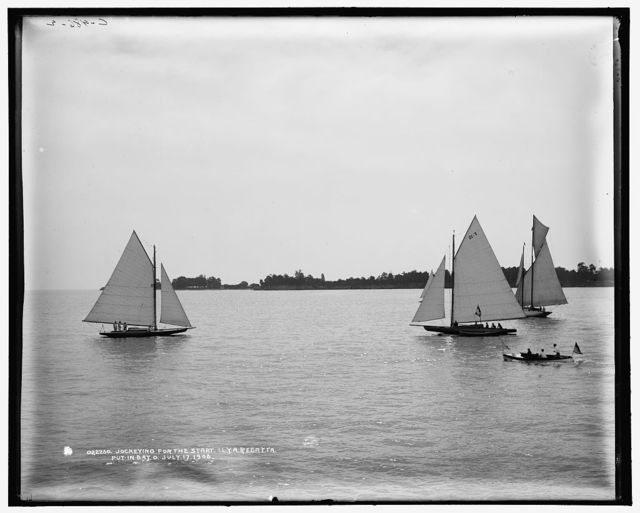 Jockeying for the start, I.L.Y.A. [Inter-Lake Yachting Association] regatta, Put-in-Bay, O[hio]