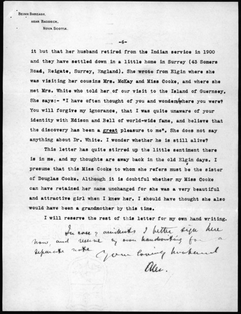 Letter from Alexander Graham Bell to Mabel Hubbard Bell, September 6, 1906