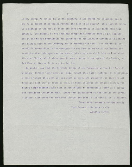 Letter from  American Colony members to Alexander Hume Ford