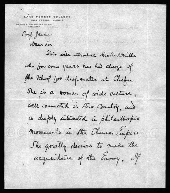 Letter from Richard D. Harlan to Professor Jenks, January 21, 1906