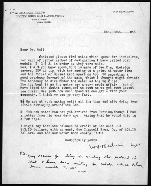 Letter from W. F. Bedwin to Alexander Graham Bell, December 28, 1906
