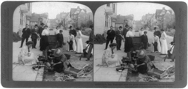 Life in San Francisco after the great disaster--cooking in the streets, Cal.