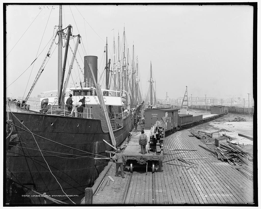 Loading lumber steamer, Gulfport, Miss.
