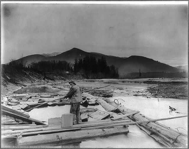 Logging in the Cascade Mountains, near Seattle, Wash.: Boom Shingle Bolts and Bolt Puncher [man standing on boards across stream, guiding logs coming down ramp into stream], Skagit River, Near Lyman, Wash.