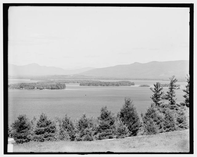 [Looking toward Mount Washington from Kimball's Castle, Lake Winnipesaukee, N.H.]