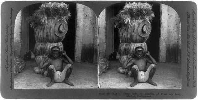 Manila hemp industry, Philippines: Bundles of fiber for local market
