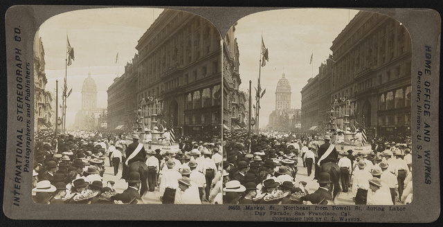 Market St., northeast from Powell St. during Labor Day parade, San Francisco, Cal.