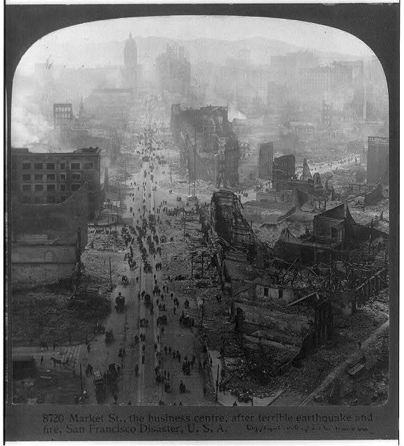 Market St., the business centre, after terrible earthquake and fire, San Francisco disaster