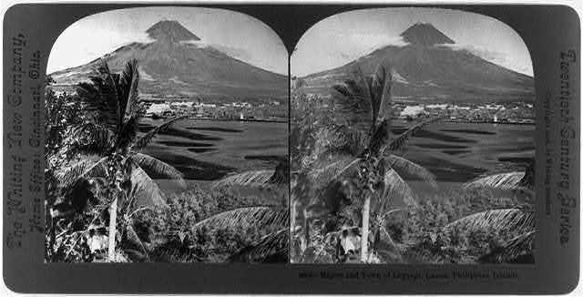 Mayon and town of Legaspi, Luzon, Philippine Islands