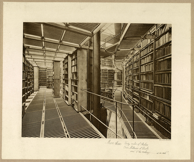 """More than forty miles of shelves, two millions of books, and """"of the making ... is no end"""" / Donald Macbeth."""