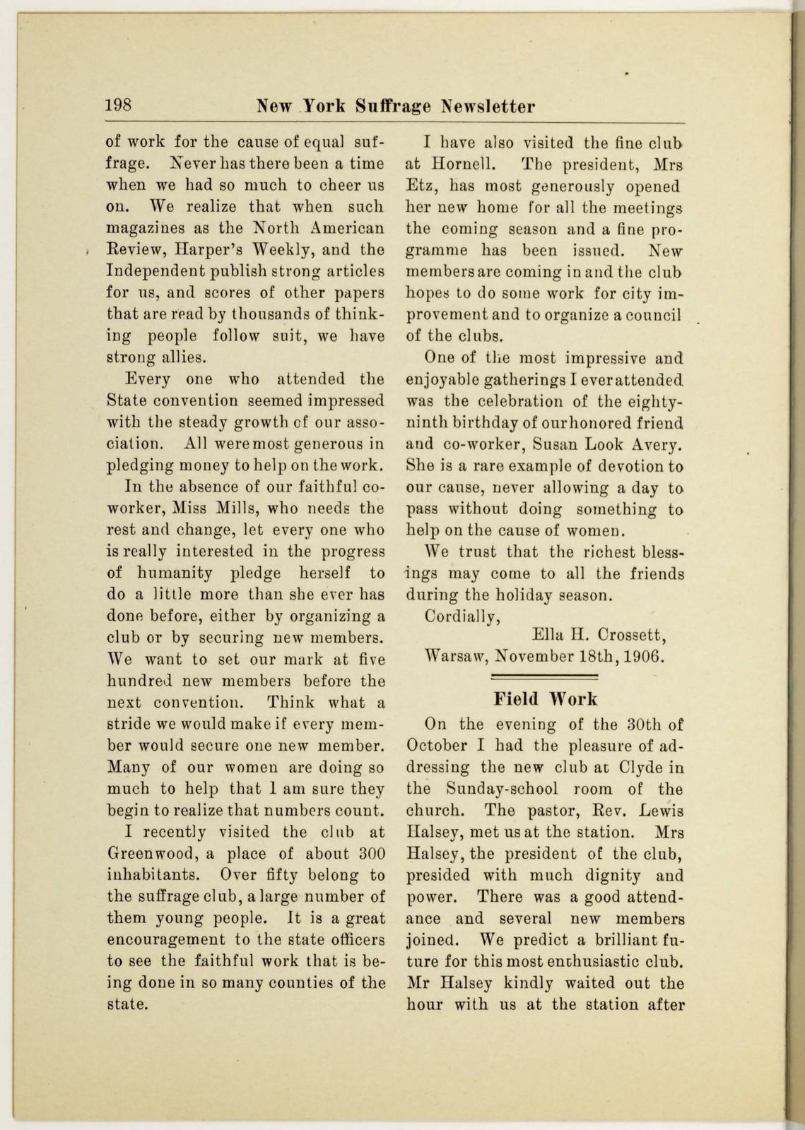 New York Suffrage Newsletter, Harriet May Mills, editor