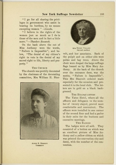 New York Suffrage Newsletter, Harriet May Mills, editor.