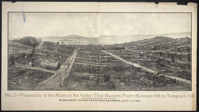 No. 2, Panorama of the ruins in the valley that sweeps from Russian Hill to Telegraphs Hill, showing Alcatraz Island in the distance. Supplement to San Francisco Examiner, July 14, 1906