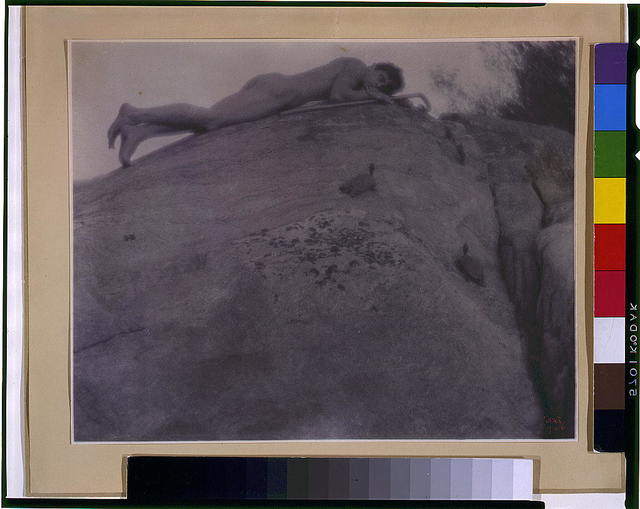 [Nude young man on rocks with tortoise and shepherd's staff, reclining] / FHD 1906.
