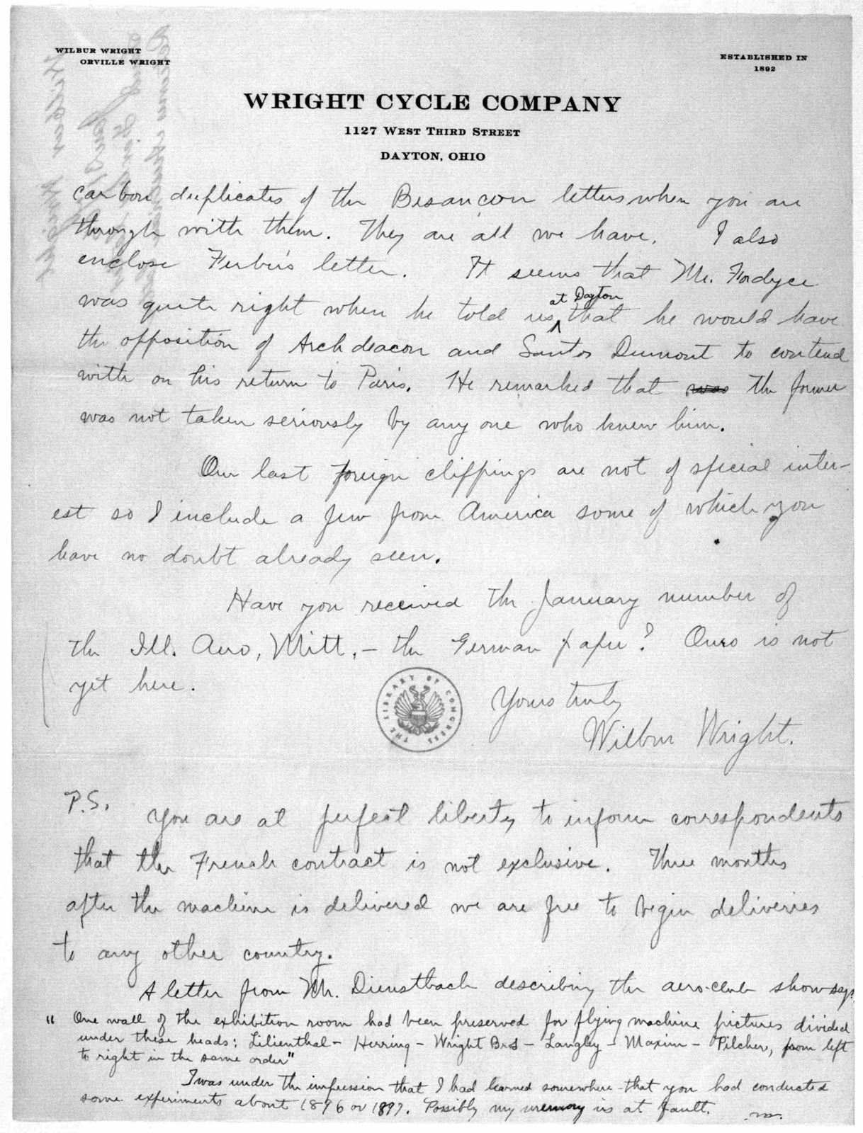 Octave Chanute Papers:  Special Correspondence--Wright Brothers, 1906