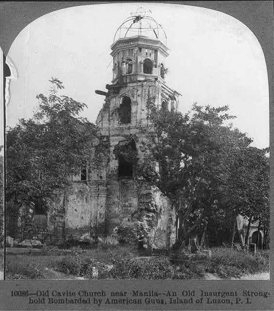 Old Cavite church near Manila - an old insurgent stronghold bombarded by American guns, Island of Luzon, P.I.