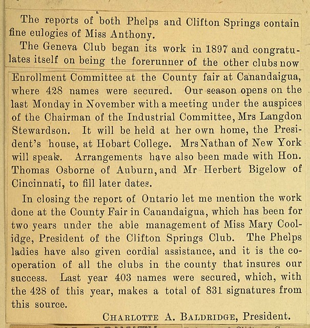 Ontario. County Report on local club activities. Charlotte A. Baldridge, President; page 2