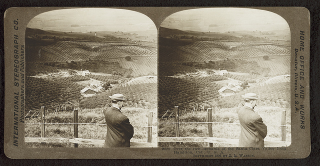 Over the rich orchards of the Santa Clara Valley from Hamilton, Ca. U.S.A.