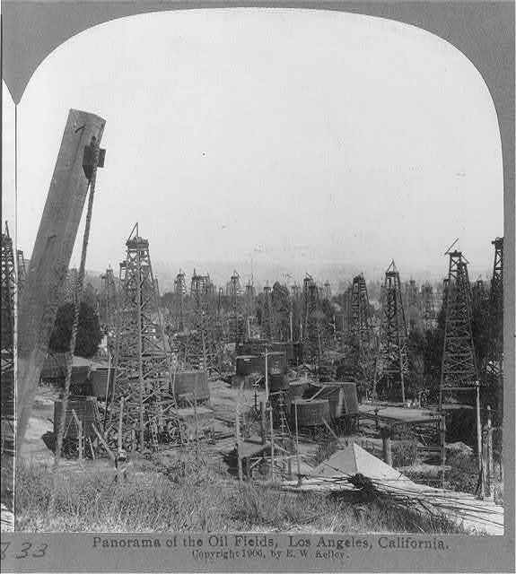 Panorama of the oil fields, Los Angeles, Calif.