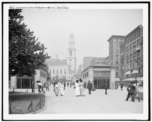 Park Street Church and Tremont Street mall, Boston, Mass.