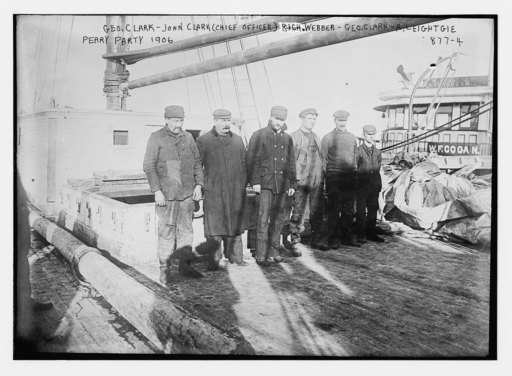 Peary party on boat deck: Geo. Clark, John Clark (chief officer), Rich. Weber, Geo. Clark, A. Leightgie