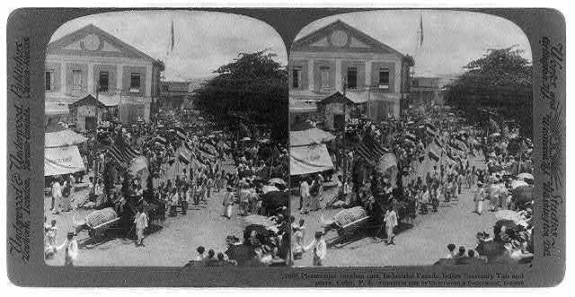 Picturesque caraboa cart, Industrial Parade, before Secretary Taft and party, Cebu, Philippine Islands