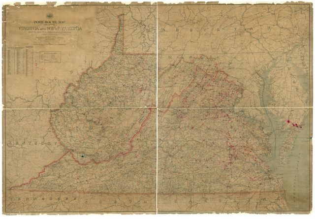Post route map of the states of Virginia and West Virginia : showing post offices with the intermediate distances on mail routes in operation on the 1st of March, 1906 /