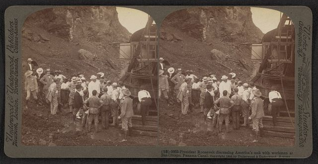 President Roosevelt discussing America's task with workmen at Bas Obispo, Panama Canal
