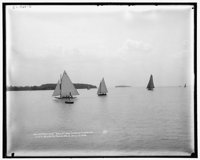 Rooster II, Sella, and Enright finishing, I.L.Y.A. [Inter-Lake Yachting Association] regatta, Put-in-Bay, O[hio]