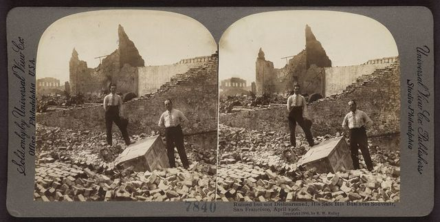 Ruined but not disheartened, his safe, his business souvenir, San Francisco, April 1906