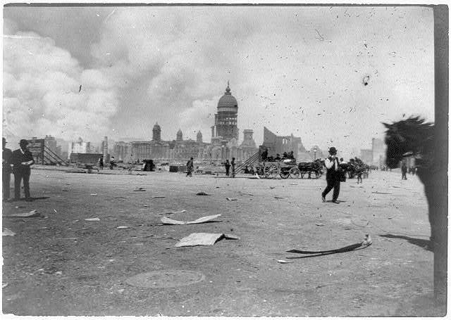 Ruins of City Hall, from the corners of Van Ness Ave. and Market Sts., Friday the 20th, April 1906