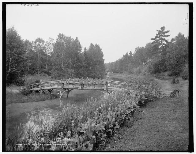 Rustic bridge, old channel, Charlevoix, Mich.