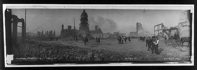 San Francisco disaster, showing ruins of buildings: view of Larkin St., City Hall and Market St.