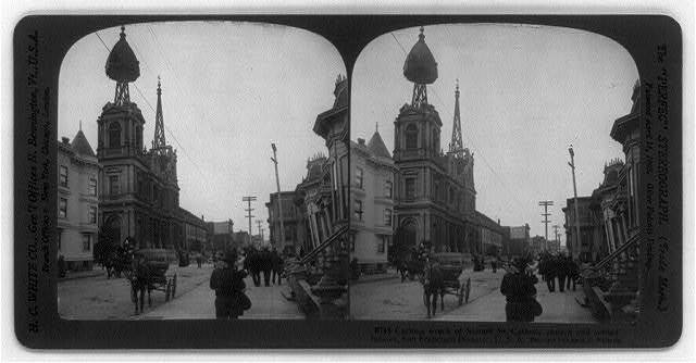 San Francisco earthquake, 1906: Curious wreck of Steiner St. Catholic Church