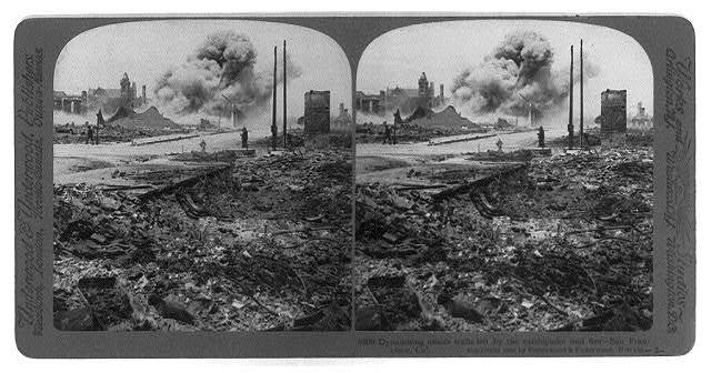 San Francisco earthquake, 1906: Dynamiting unsafe walls left by the earthquake and fire
