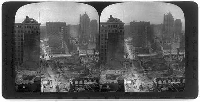 San Francisco earthquake, 1906: Looking down Montgomery St. towards the Palace Hotel