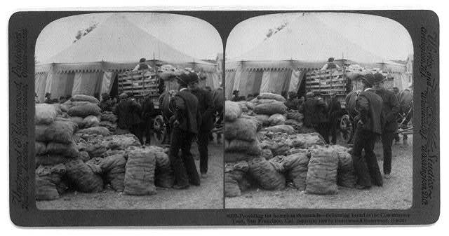 San Francisco earthquake, 1906: Providing for homeless thousands - delivering bread at the Commissary tent