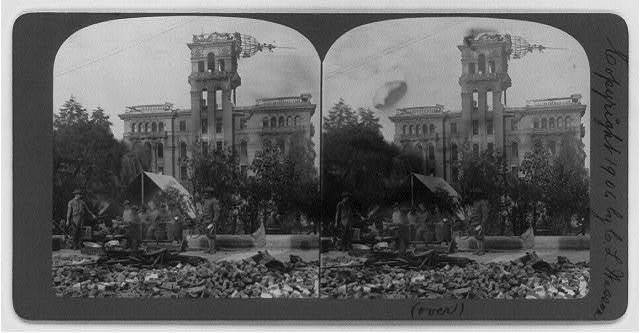 San Francisco Earthquake and Fire, 1906: soldiers being served with supper at Portsmouth Square