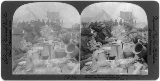 San Francisco Earthquake & Fire, Apr. 1906: Refugees at dinner, food plain but palatable, 16th and Dolores