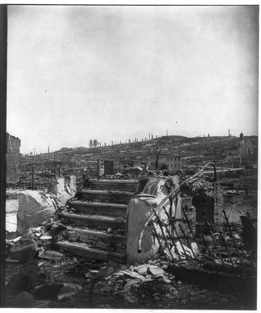 San Francisco Earthquake and Fire: ruins and rubble, with steps of building in foreground