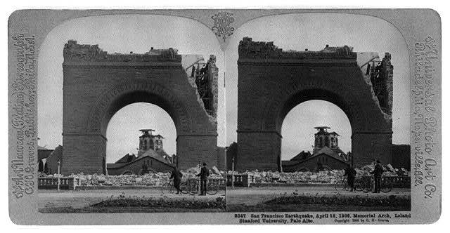 San Francisco earthquake, April 18, 1906. Memorial Arch [in ruins], Leland Stanford University, Palo Alto