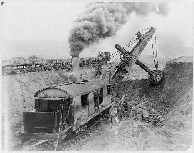 Steam shovel doing construction work for the Western Pacific Railroad