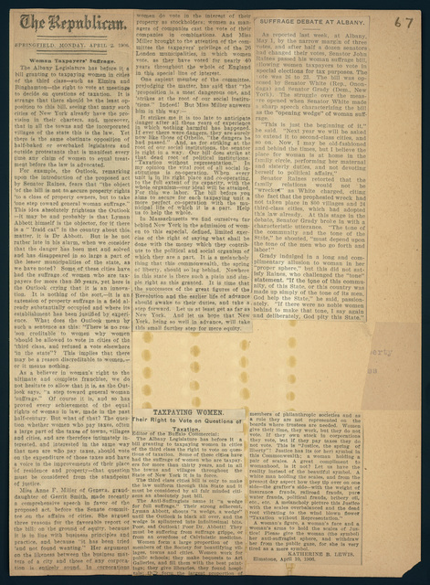 Suffrage Debate at Albany; Tax suffrage Act passes Senate