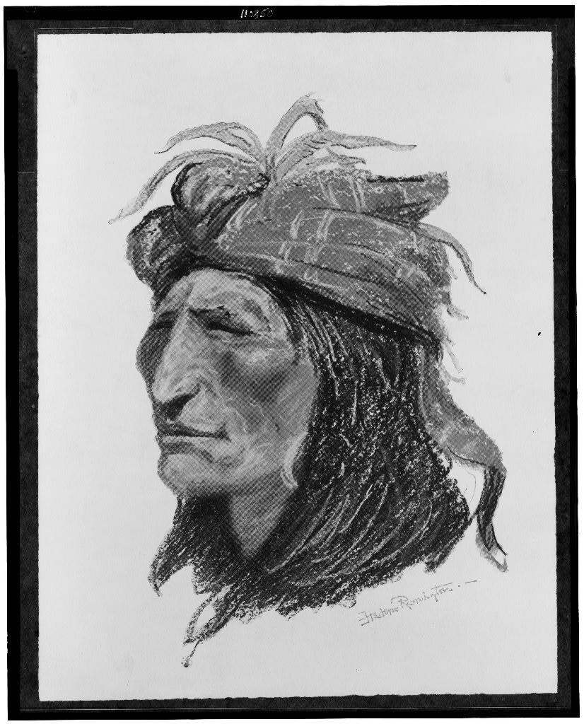 [The Creek Indian, head-and-shoulders portrait, facing left] / Frederic Remington.